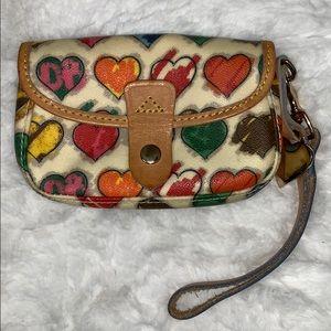 Dooney & Bourke multi colored hearts wristlet